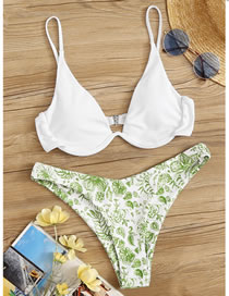 Fashion Green Blue And White Porcelain Printed Contrast Swimsuit