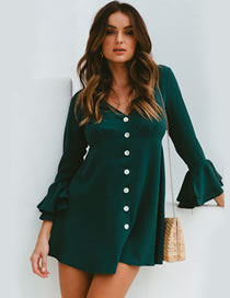 Fashion Green Lotus Leaf Sleeve V-neck Button Dress