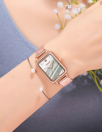 Fashion White Rectangular Dial Mesh Belt Waterproof Quartz Ladies Watch