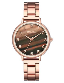 Fashion Brown Steel Stripe Marble Quartz Womens Watch