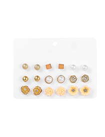 Fashion Color Mixing Waterdrop 9 Pair Earring Set