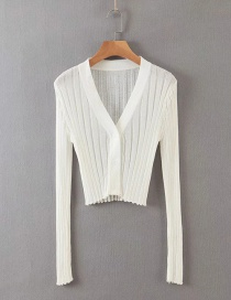 Fashion White Single-breasted Air-conditioning Sunscreen Sweater