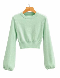Fashion Green Lantern Sleeve Short Sweater