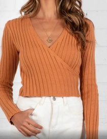 Fashion Orange Striped Cross-fit Slim-neck Sweater
