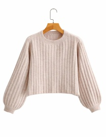 Fashion Khaki Striped Crew Neck Knitted Sweater