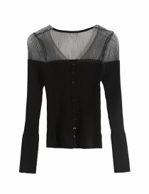 Fashion Black Organza Stitching Perspective Thin Sweater Sweater