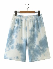Fashion Blue Tie-dye Elastic Waist Straight Shorts