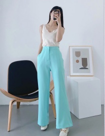 Fashion Lake Blue Solid Color Loose Straight Trousers