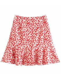 Fashion Red Floral Print Lotus Leaf Skirt