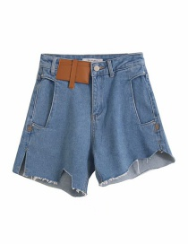 Fashion Denim Blue Asymmetric Split Stitching Denim Shorts
