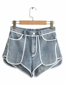 Fashion Blue Short White High Waist Denim Shorts Before Washing