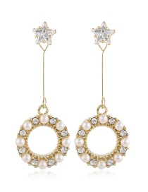 Fashion Yellow Pearl And Diamond Five-pointed Star Alloy Earrings