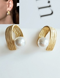 Fashion Yellow Geometric Pearl Alloy Earrings