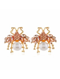 Fashion Red Pearl Diamond Insect Alloy Hollow Earrings