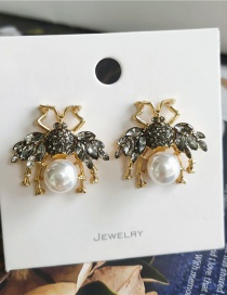 Fashion Black Pearl Diamond Insect Alloy Hollow Earrings