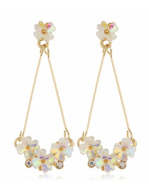 Fashion Yellow Long Alloy Earrings With Resin Flowers And Diamonds