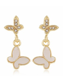 Fashion White Butterfly Diamond Resin Alloy Earrings