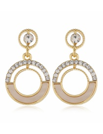 Fashion Yellow Diamond Resin Geometric Round Alloy Earrings
