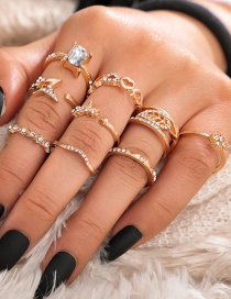 Fashion Golden Openwork Love Tree Leaf Opening Five-pointed Star Diamond Ring Set