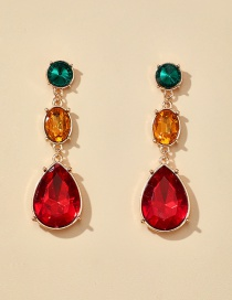 Fashion Color Mixing Glass Color Diamond Alloy Geometric Earrings