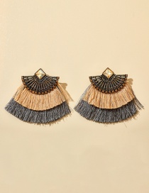 Fashion Color Mixing Acrylic Diamond Tassel Earrings