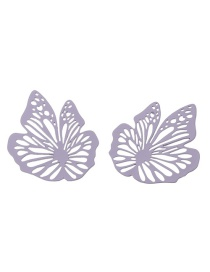 Fashion Purple Hollow Paint Butterfly Alloy Earrings