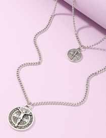 Fashion Silver Portrait Pendant Embossed Alloy Multilayer Necklace