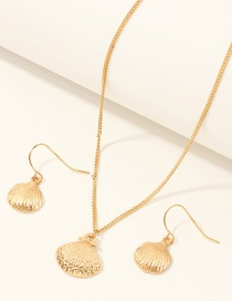 Fashion Golden Shell Alloy Earrings Necklace Set