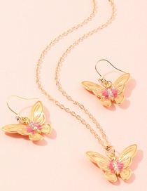 Fashion Champagne Three-dimensional Butterfly Diamond Alloy Earring Necklace Set