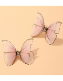 Fashion Pink Three-dimensional Tulle Double-layer Butterfly Ring Earrings