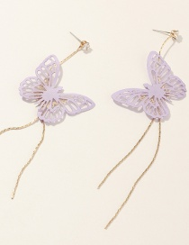 Fashion Purple Butterfly Long Fringe Hollow Alloy Earrings