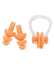 Fashion Orange Silicone Swimming Waterproof Nose Clip Earplugs