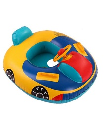 Fashion Yellow Cartoon Swimming Ring Boat With Steering Wheel Horn
