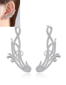 Fashion White Gold Wing Copper Earrings With Zirconium
