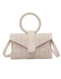 Fashion Creamy-white Straw Daisy Shoulder Messenger Ring Handbag