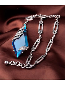 Fashion Blue Geometric Diamond Short Necklace
