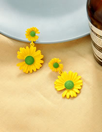 Fashion Yellow 925 Silver Post Daisy Flower Earrings