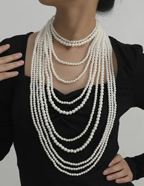 Fashion White Pearl Tassel Beaded Necklace