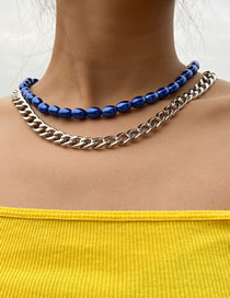 Fashion Blue Imitation Pearl Chain Necklace