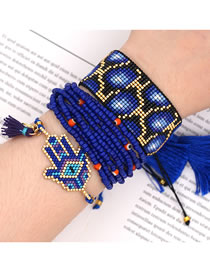 Fashion Blue Suit Rice Bead Woven Palm Multi-layer Tassel Bracelet