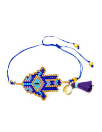 Fashion Blue Section Two Rice Bead Woven Palm Multi-layer Tassel Bracelet