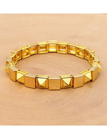 Fashion Golden Zinc Alloy Braided Rivet Bracelet