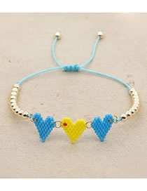 Fashion Light Blue Mizhu Woven Love Bracelet