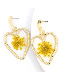 Fashion Yellow Love Resin Inlaid Flower Earrings