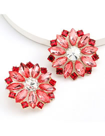 Fashion Red Round Flower Stud Earrings With Alloy Diamond