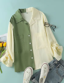 Fashion Green Two-color Contrasting Long-sleeved Shirt