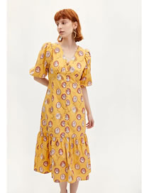 Fashion Yellow Print Square Collar Print Dress