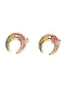 Fashion Color Colorful Horn Earrings