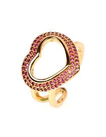 Fashion Great Love Micro-set Color Diamond Love Ring