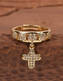 Fashion Golden Cross Ring With Diamonds